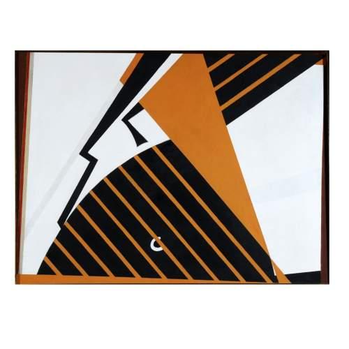"""Angelo Rinaldi """"Rapace"""", acrilico su tela, cm.70x93, firmato e datato 1993, con cornice"""