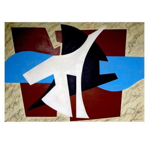 """Angelo RINALDI """"nuova astrazione A.R.7"""", acrilico su carta, cm.70x100, anno 2012"""