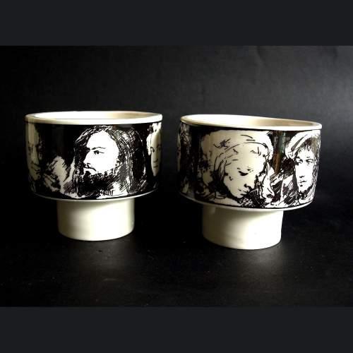 Annigoni Pietro | Coppette decorate con immagini | Porcellane d'arte Eva sud | h.cm.8,5 | marchio