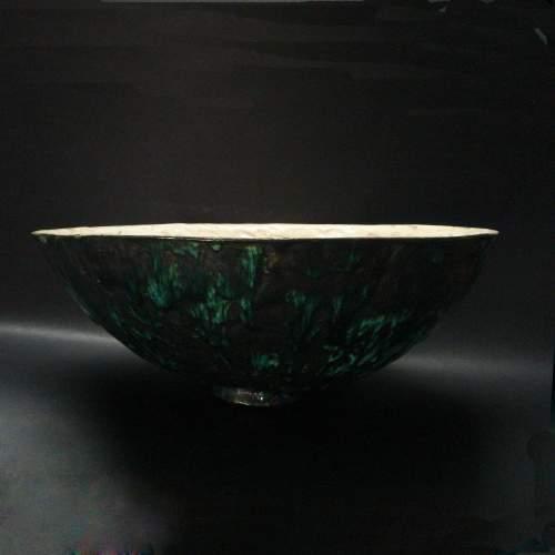 ANGELO RINALDI,  grande ciotola concava, in ceramica invetriata  esterno verde con interno bianco, h.cm. , anno 1970