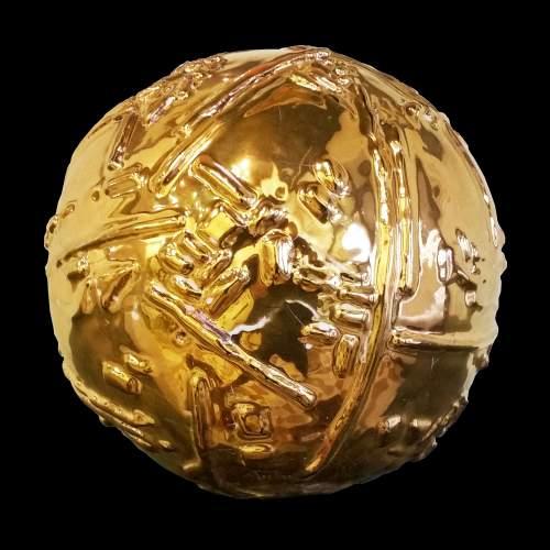 """Rinaldi Angelo,""""pianeta"""",scultura in terracotta dorata,diametro cm.17,firmata datata 2002"""