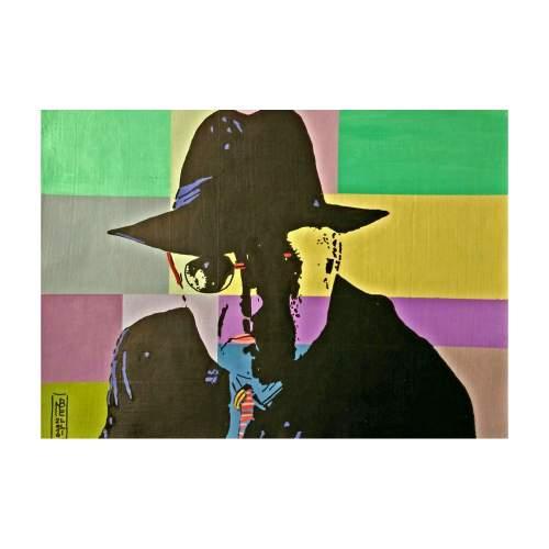 """Belli Nicoletta  """"Angelo Rinaldi """", tecnica mista su tela, cm.30x21, anno 2014."""
