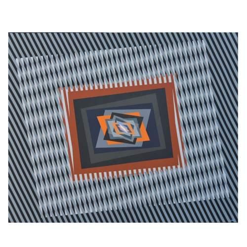 "FERRUCCIO GARD "" Chromatic energies and op art-120 "", acrylic colours on canvas, cm.80x80, firmato e datato 2014"