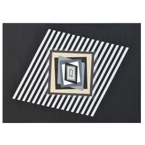 """FERRUCCIO GARD """"Chromatism and optical art """", acrylic colours on canvas, cm.112x112, firmato e datato Venezia 2014"""