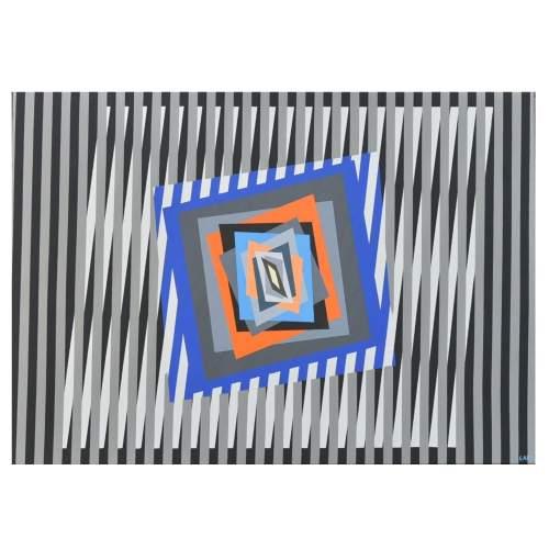 "FERRUCCIO GARD "" Chromatism and op art-90 "", acrylic colours on canvas, cm.90x90, firmato e datato 2014"