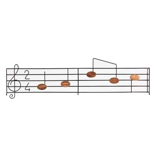 """VERONA ABAT JOUR, """" musicale """" attaccapanni in ferro laccato nero e note in legno di mogano, cm.140x35x9"""