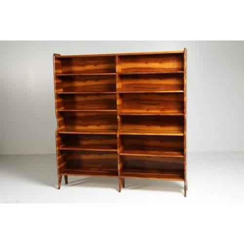 Libreria del XX secolo, impellicciatura pregiata , cm.172x 183x28, Italia anni '50