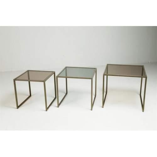 Gallotti Radice,3 tavolini servitore,acciaio cromato e vetro,cm.45x50x50
