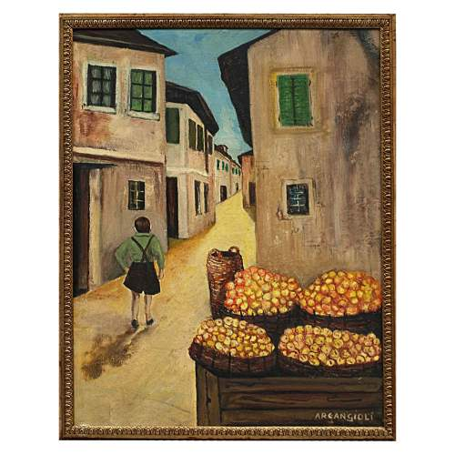 "Arcangioli Gigi,""passeggio,sulla via"",olio su tela,h.cm.67x50"