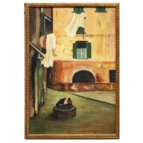 Arcangioli Gigi, A passeggio  sulla via, olio su tela, h cm.68x45,5