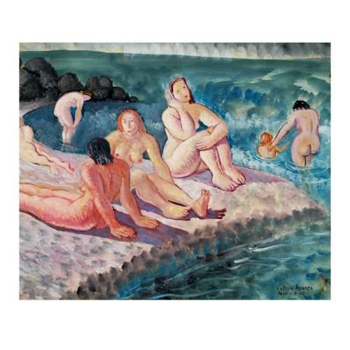 """Assenza Valente """"donne sulla battigia"""", tecnica mista,carta telata, cm.50x60, firmato datato 1942"""