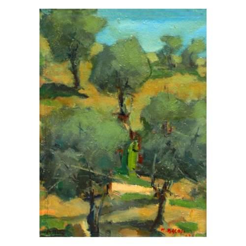 """Bacosi Manlio """"paesaggio"""", olio su tavoletta, cm.45x30,5, firmato e datato 1963, con cornice d'epoca"""
