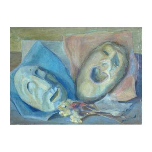 """Bortoluzzi Alfredo """" maschere """", olio su tavoletta, cm.30x40, firmato, con cornice."""