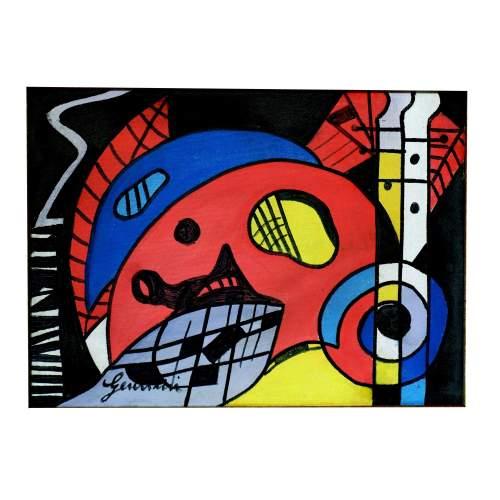 """Gentilini Aldo """" astratto """", acrilico su tela, cm.40x30, firmato, con cornice"""