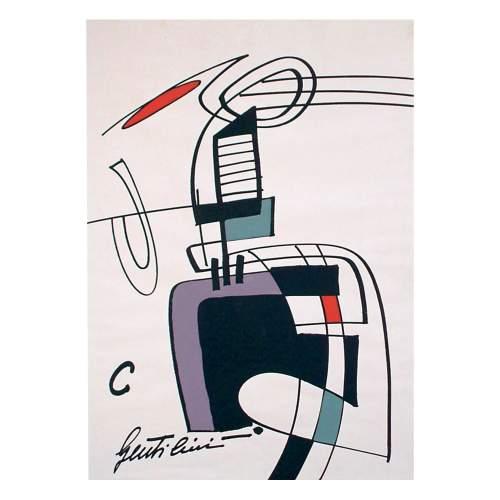 """Gentilini Aldo,""""astratto"""",lithografia con interventi a tempera su carta,cm.50x70,firmato."""