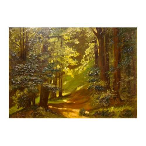 """Pisani Angelo """" bosco """", olio su tavola, cm.33x46, firmato sul retro, con cornice originale."""