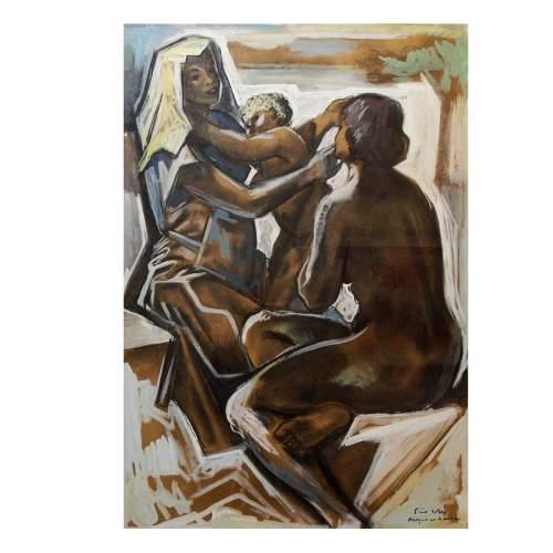 """Rosa Tino """" le madri """", disegno, tecnica mista su carta, cm.98x69, con cornice"""