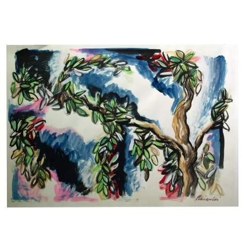 "Rainaldi Oliviero,""ramo con foglie"",tecnica mista su carta,cm.70x100"