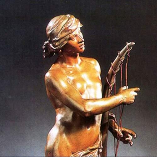 """particolare, HONORE' ICARD """"Davide davanti Saul"""",scultura in bronzo patinato, h.cm.49x17x13,5"""