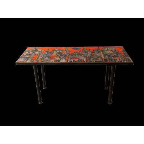 Elio Schiavon, tavolino basso, piano in ceramica su disegno di Fulvio Pendini,metallo, h.cm.38x75x31, anni 50