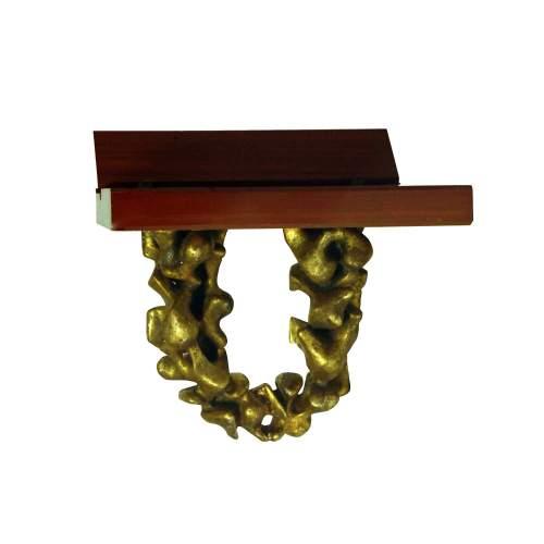 """CLAUDIO TREVI """" Volo """", coppia di comodini, fusione in alluminio dorato a foglia oro, cm. 42x48x30, firmato e datato 1966"""