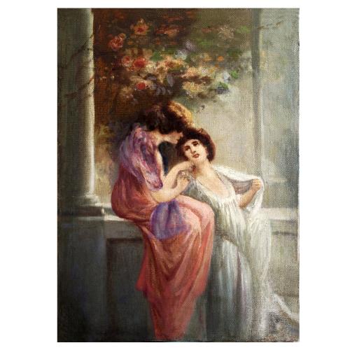 Anonimo novecento, Figure femminili e colonnato, olio su tela,  cm. 28,3 x 39, periodo Liberty