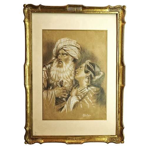 """Janne Cholet  Fontaine  """" Uomo e donna orientali """",  disegno su carta, cm.36x25, firmato datato 1833"""