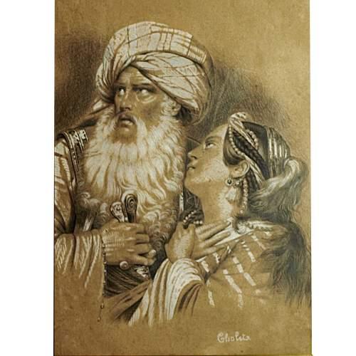 """Cholet  Fontaine  Janne """" Uomo e donna orientali """",  disegno su carta, cm.36x25, firmato datato 1833"""