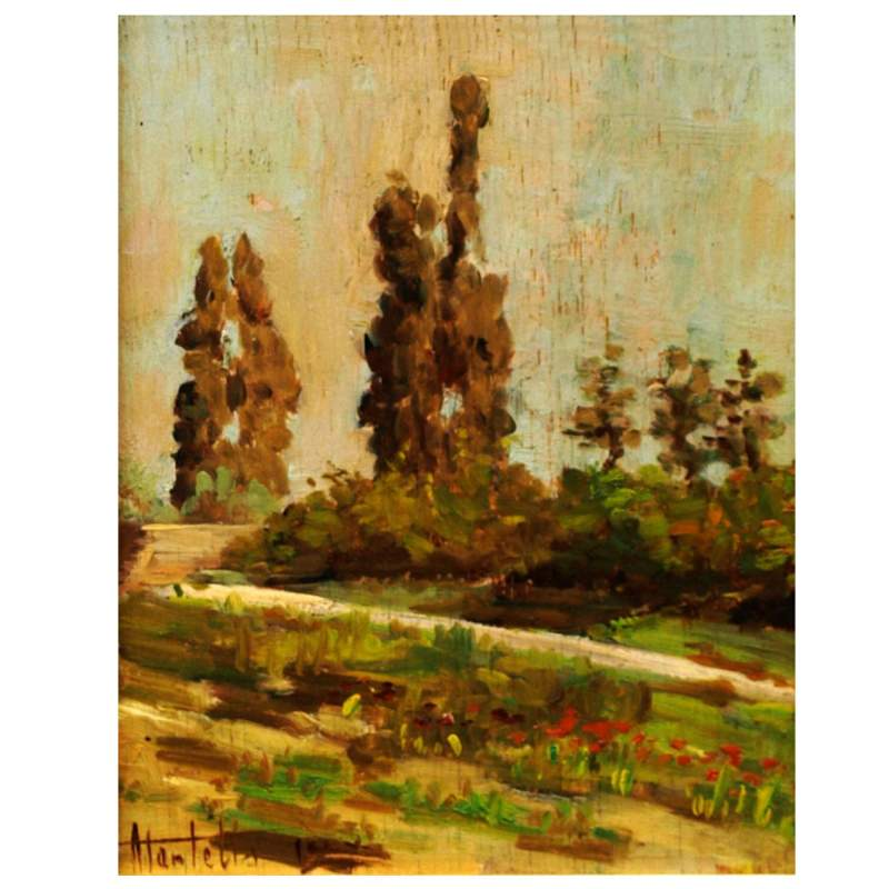 Martelli  Ugo (Ferrara 1881 - Desenzano del Garda 1921),  Paesaggio,   olio su tavola,  cm. 25 x 20
