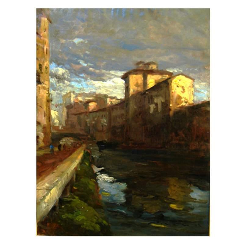 """Ziveri Umberto,"""" i navigli di Milano"""", olio su tela, cm.70x50, firmato, con cornice intagliata e dorata"""