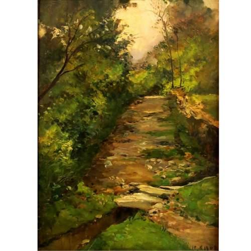"""Lorenzo Delleani""""viottolo con ruscello tra il bosco""""olio  su tavola,cm.44x31,datato 1905"""