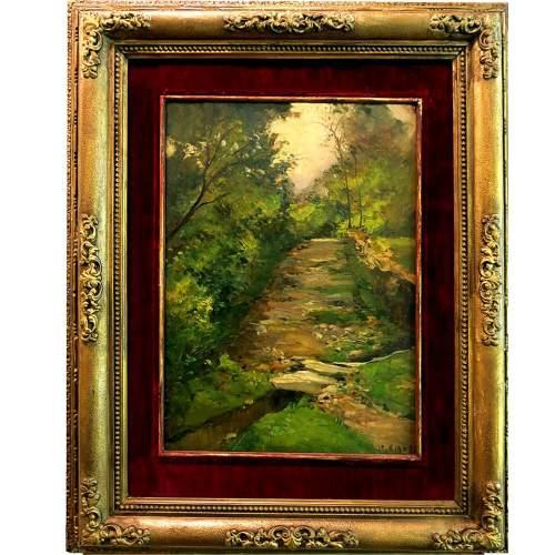 """Lorenzo Delleani""""ruscello tra il bosco""""olio  su tavola,cm.44x31,datato 1905"""