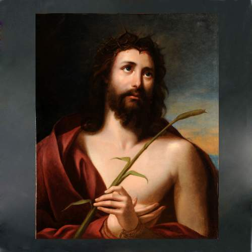 """Anonimo """"Cristo con la canna"""", olio su tela, cm.73x60, periodo Neoclassico"""