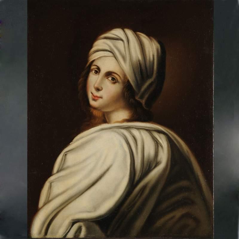 """Anonimo seguace di Guido Reni,""""ritratto di Beatrice Cenci"""", olio su tela,cm:64x50,5,fine '600-inizi '700"""