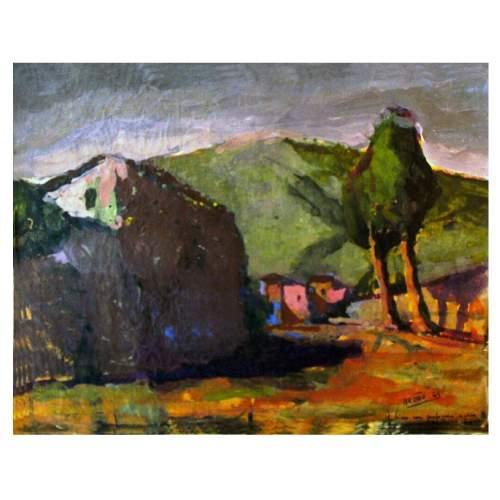 """Brotto Angelo """" Paesaggio collinare """", olio su carta incollata su cartone, cm. 40 x 51, firmato datato 1949, con cornice dorata."""