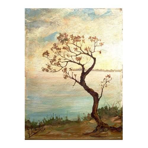"""Lottaroli Franco """" Paesaggio"""" , olio su tavola, cm. 23,5 x 18, firmato e datato 1954, piccola cornice."""