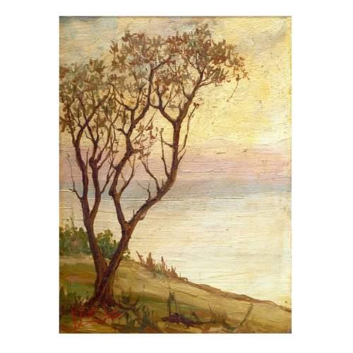 """Lottaroli Franco """" Paesaggio """" ( coppia ) , olio su tavola, cm. 23,5 x 18, firmato e datato 1954, piccola cornice."""