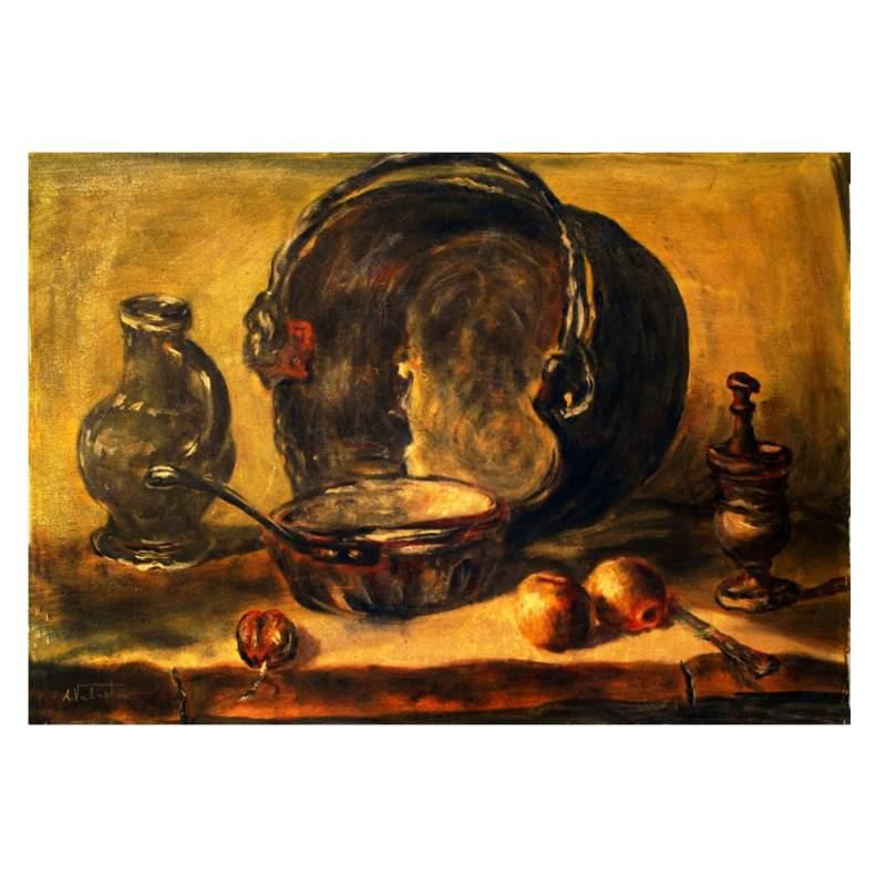 """A. VALENTINI """"natura morta """", olio su tela, cm.50x70, firmato"""
