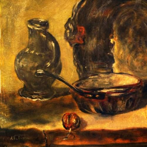 """firma, A. VALENTINI """"natura morta """", olio su tela, cm.50x70, firmato"""