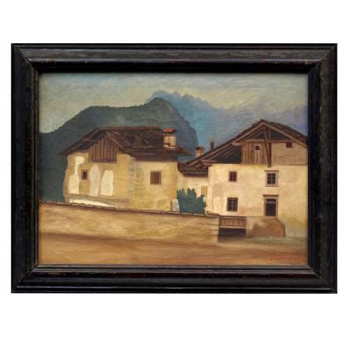 """PIO SANTINI """" Paesaggio """", olio su tela, cm.32x45, firmato"""