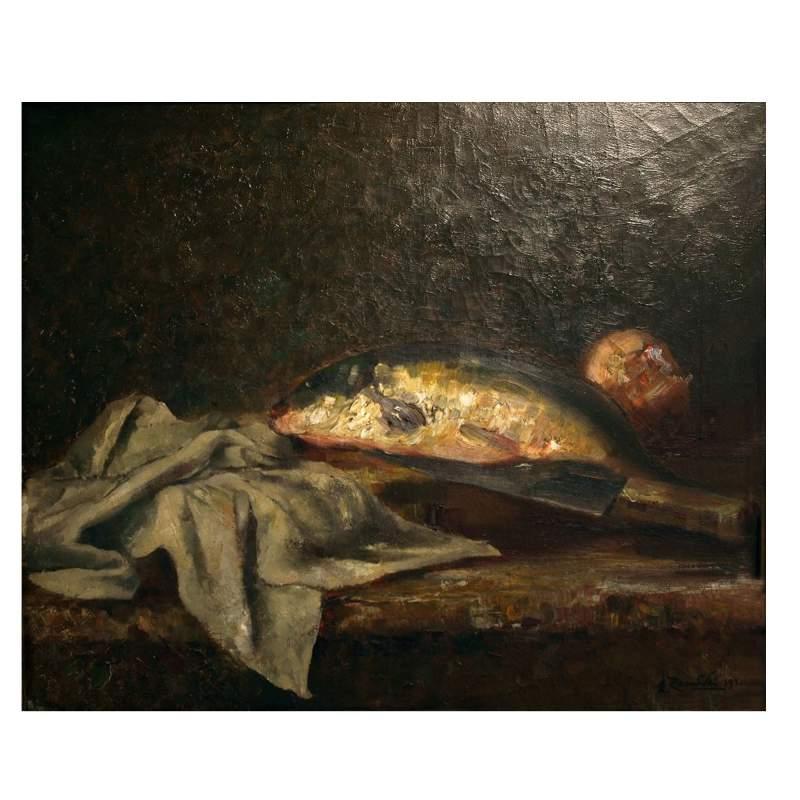 """EVARISTO ZAMBELLI """" Natura morta """", olio su tela, h.cm.40x30, firmato, cornice originale"""
