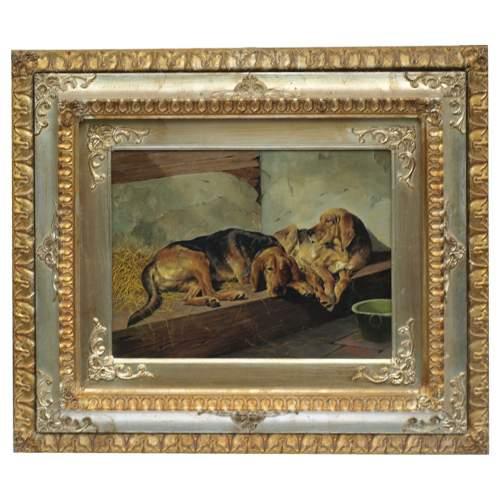 """FRANCESCO VASSETTI """" Coppia di Bracchi"""",olio su tela, cm.30x40, firmato,con cornice"""