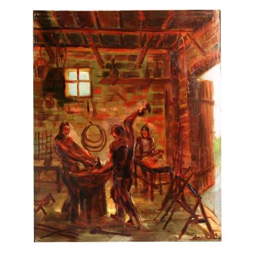 """Privato Cosimo """" Fucina del fabbro """", olio su tavola,cm. 30,5 x 37, firmato, con cornice."""
