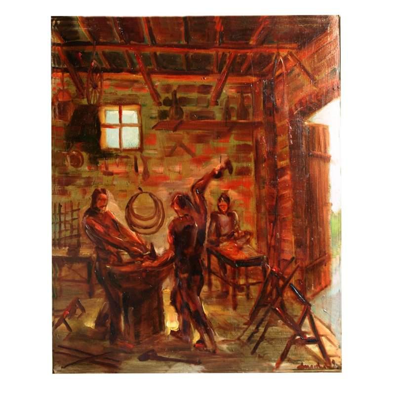 """Privato Cosimo,""""Fucina del fabbro"""",olio su tavola,cm. 30,5 x 37,firmato,con cornice"""