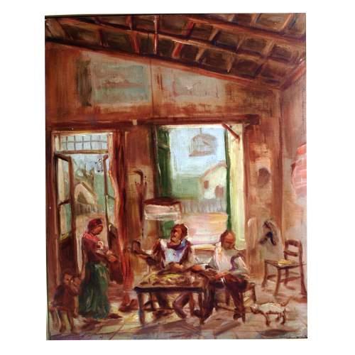 """Privato Cosimo """" Laboratorio del calzolaio """", olio su tavola, cm. 30,5 x 37, firmato, con cornice"""