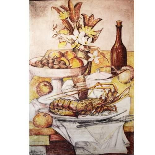 """George Villa,""""natura morta"""",gessetti su tavola, cm.120x80,firmato e datato 1960"""
