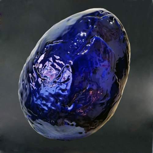 """Thon """" Ocean  """" scultura in terracotta bleu intenso con rilievi sovrapposti, cm.31x27x24 , firmato e datato 2000"""