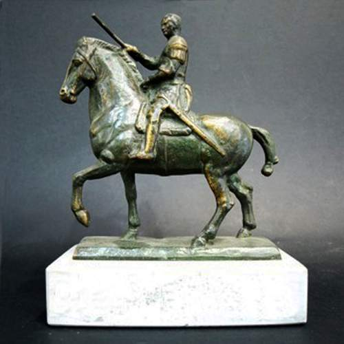 """Anonimo""""Gattamelata"""",scultura in bronzo,cm.18,5x16x5,5,base  marmo ,tot.cm. 23,5"""
