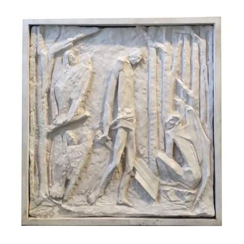 """AMLETO SARTORI """" Scene di Lavoro"""",altorilievo in scagliola, h.cm.61x60, anni 50-60."""
