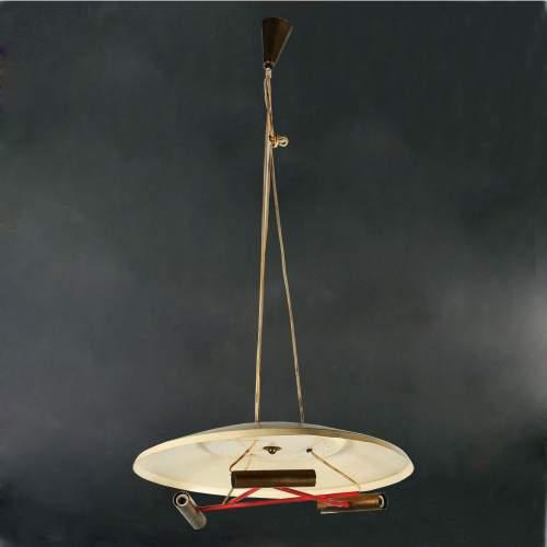 BIANCARDI & JORDAN, lampadario a tre luci, in metallo laccato, cm.110x52, Italia anni '50